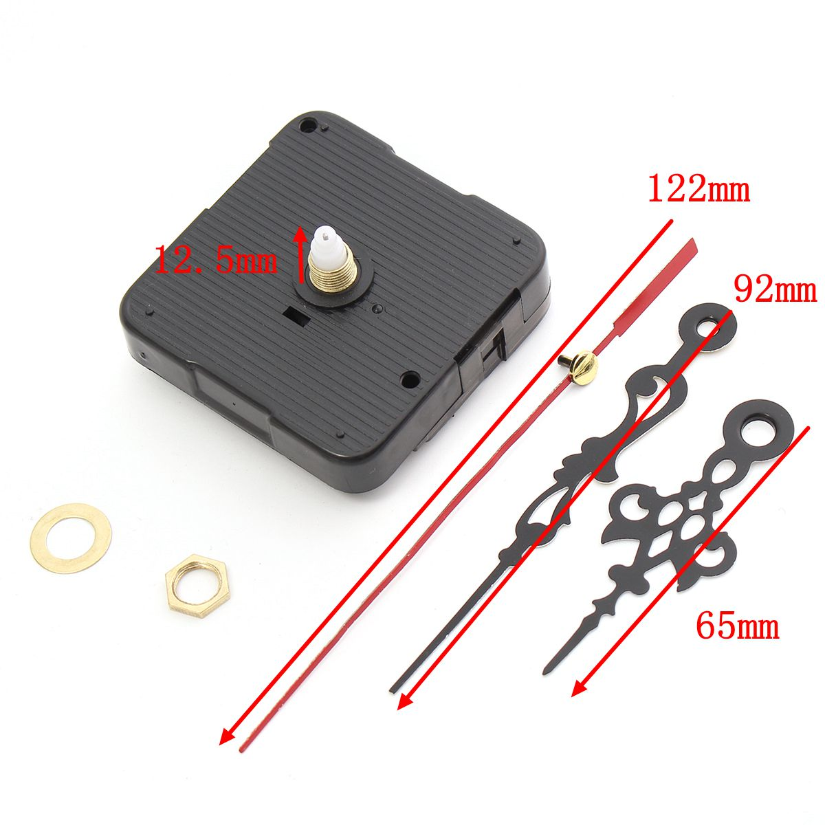 122x92x65mm 12.5mm Shaft Length DIY Mute Clock Movement Quartz Clock Mechanism Repair Kit