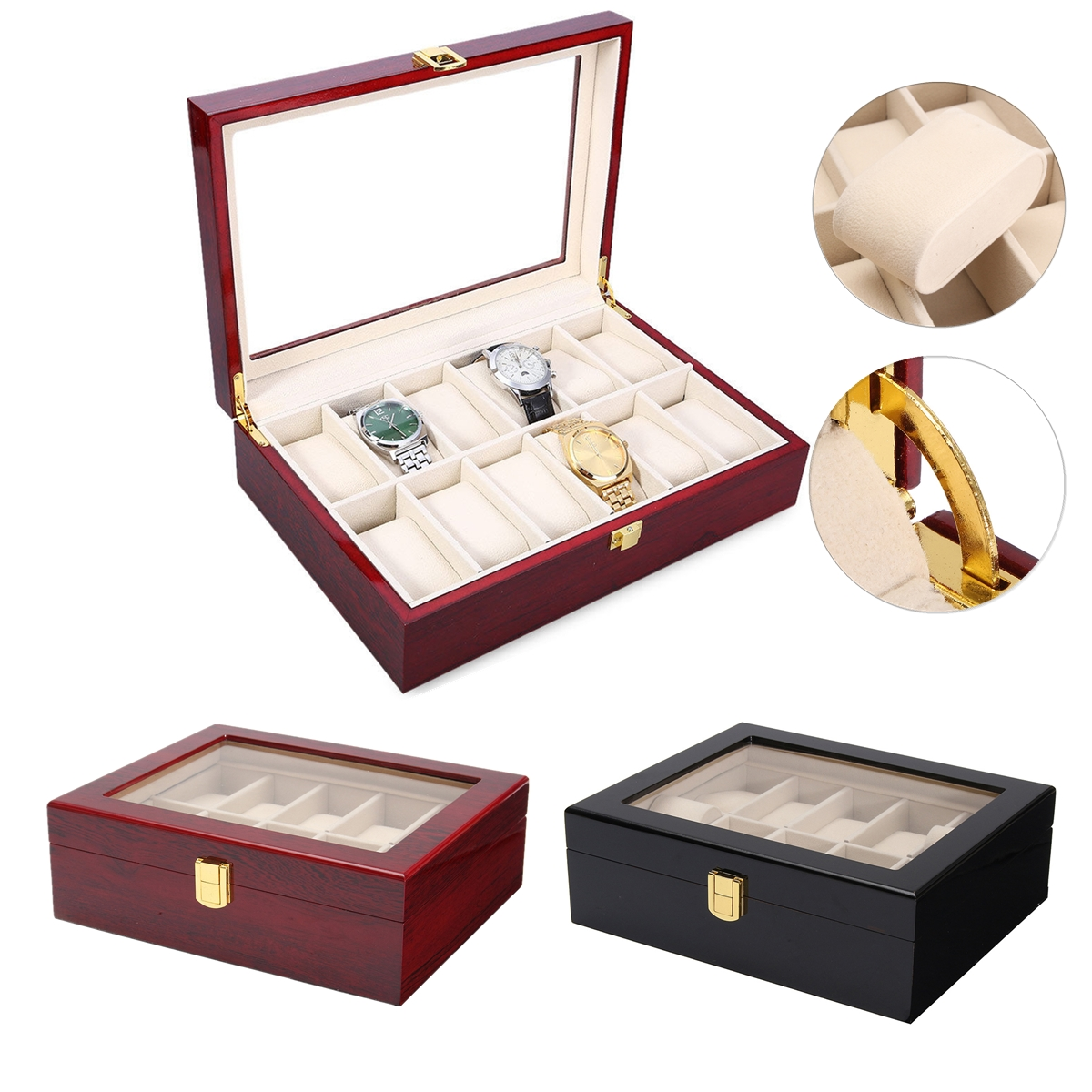 10 Grids Retro Red Wooden Watch Display Case Durable Packaging Holder Jewelry Collection Storage Watch Organizer Box Casket