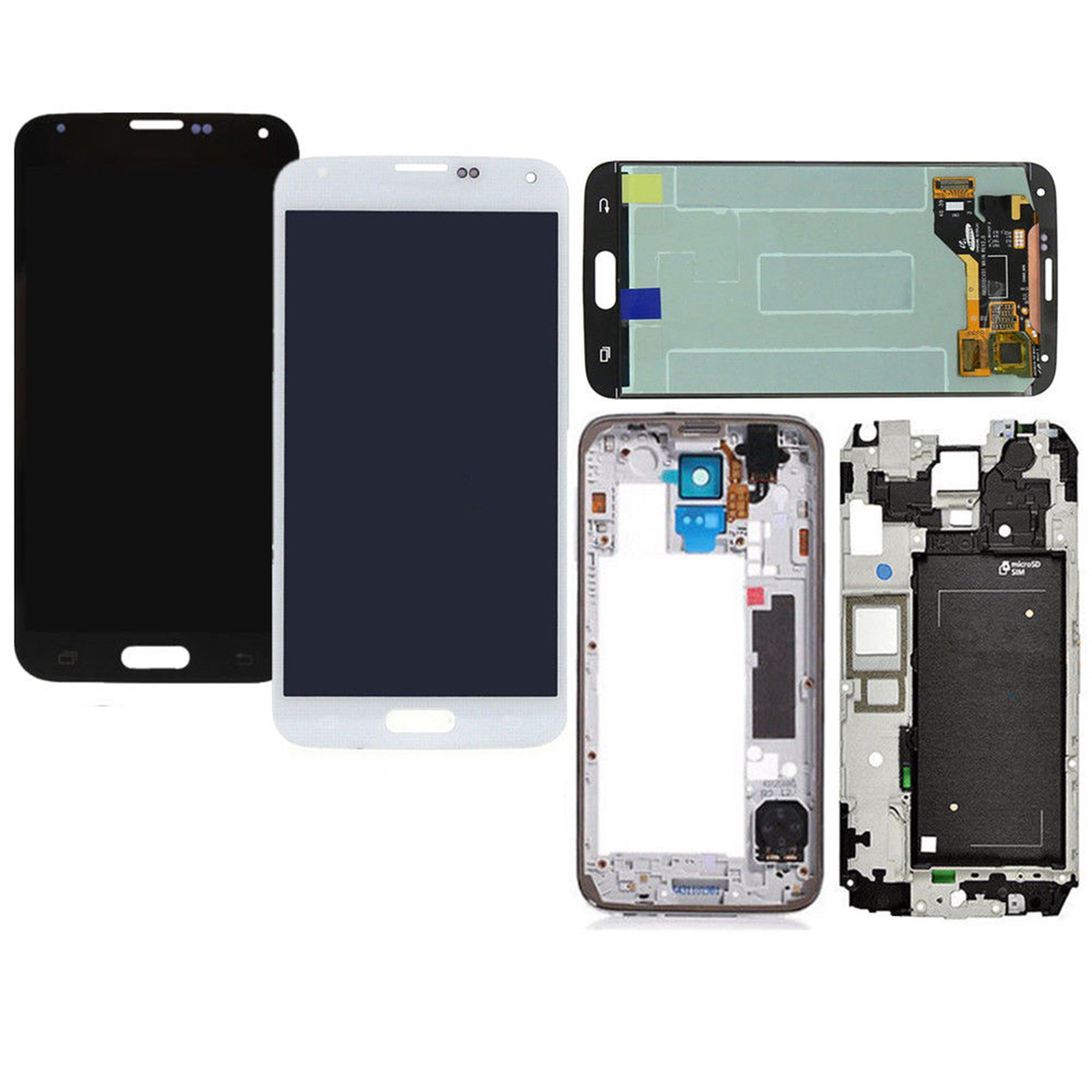 Full Assembly LCD Display Touch Screen Digitizer Replacement & Battery Cover for Samsung Galaxy S5