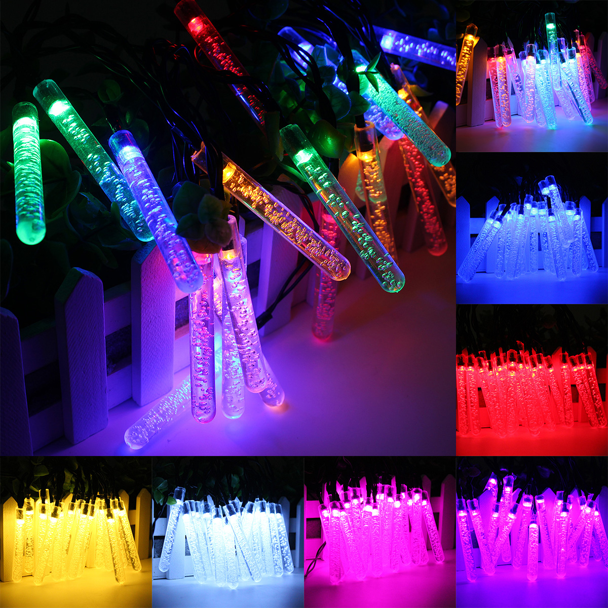 4.8M 20 LED Bubble Icicle Fairy String Light Solar Power Christmas Party Lamp