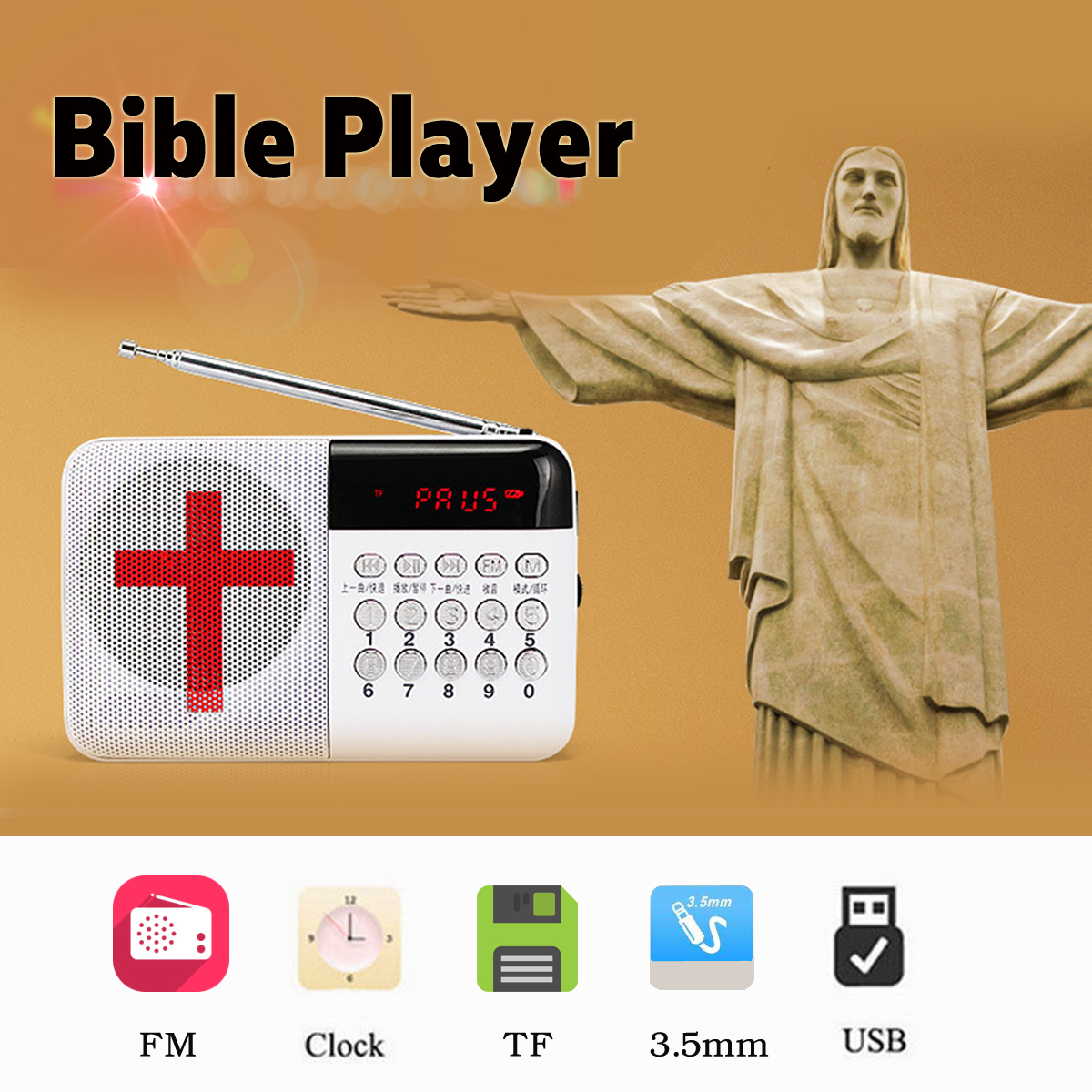 Portable Electronic Bible Audio Speaker Player Rechargeable FM Radio TF Card