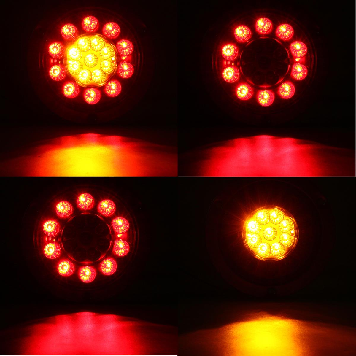 19 LED Truck Lorry Brake Lights Stop Turn Tail Lamp Stainless Steel Turn Signal Stop Lights