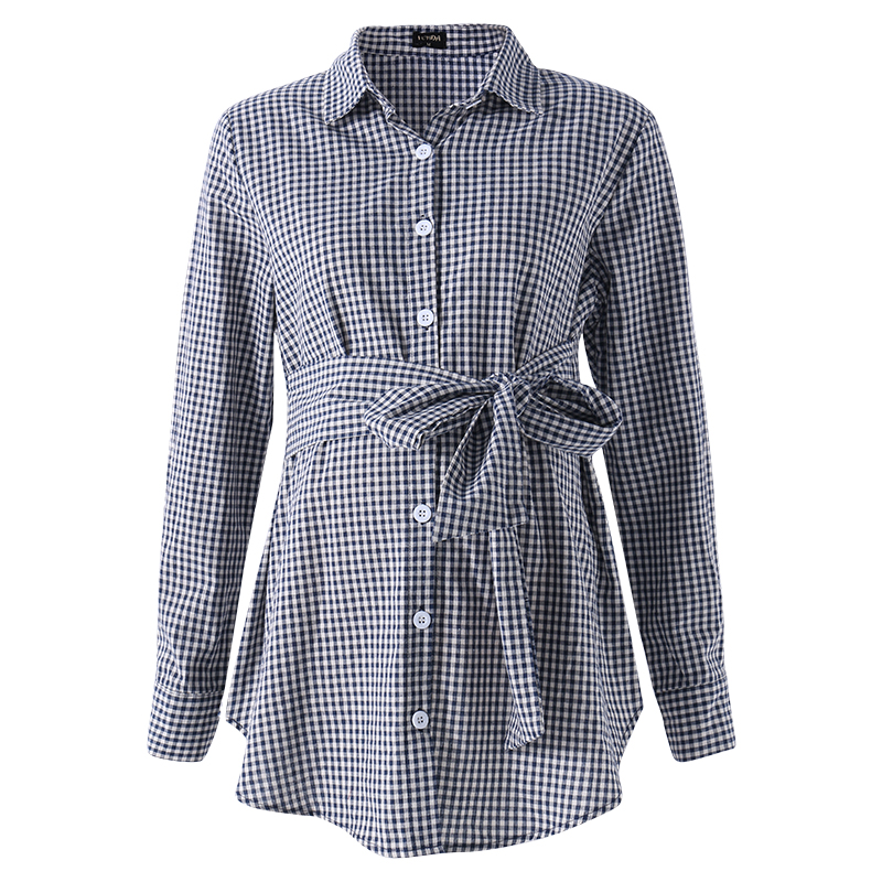 Pregnant Women Long Sleeve Maternity Plaid Blouse