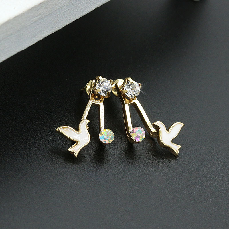 Trendy Sweet Rhinestones Birds Stud Earrings