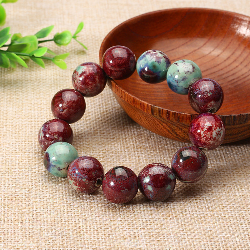Ethnic Handmade Ceramic Stretch Rope Chain Elastic Beaded Bracelet for Men