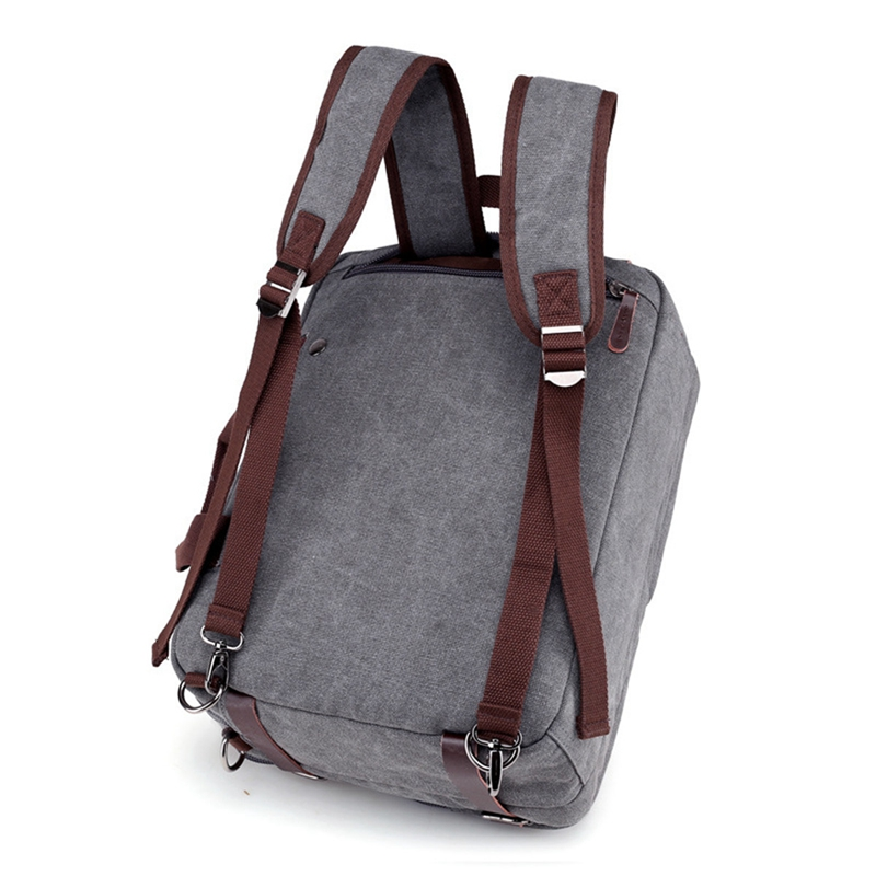 4 Styles Canvas Convertible Backpack Briefcase Multi-Pocket Laptop Bag Messenger Shoulder Bag