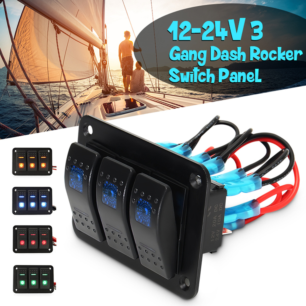 3 Gang 12V/24V Toggle LED Rocker Switch Panel On-Off Car Marine Boat Waterproof