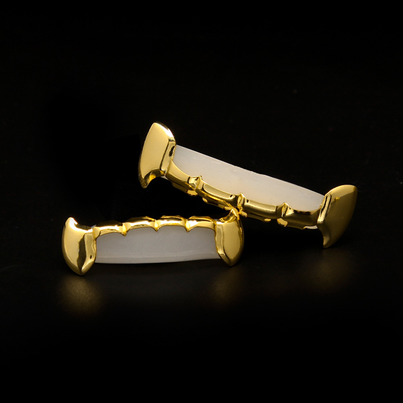 Gold Plated Teeth Hip-Hop Top & Bottom Mouth Grillz Caps