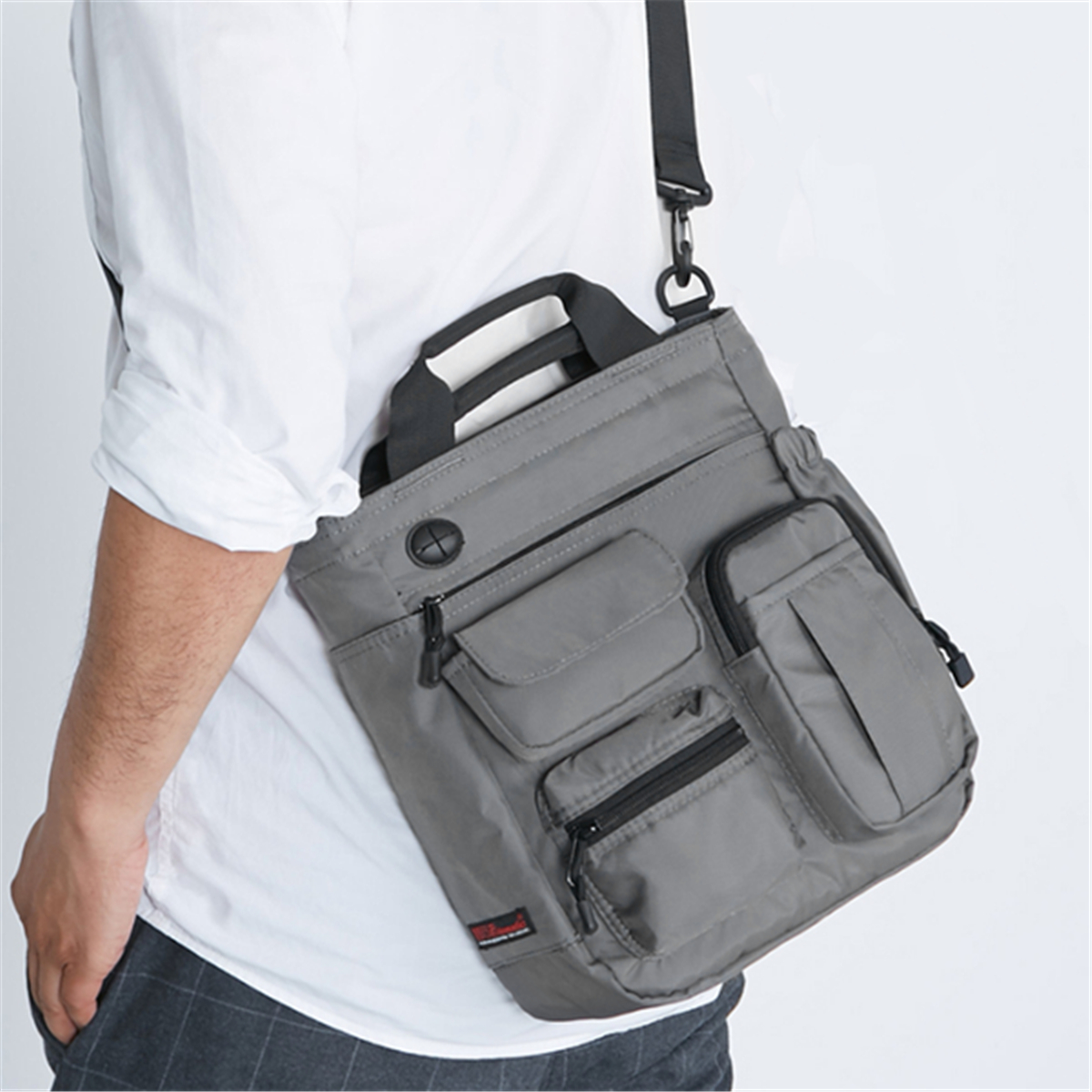 Men Nylon Waterproof Large Capacity Crossbody Bag Multi-functional Business Laptop Tablet Handbag