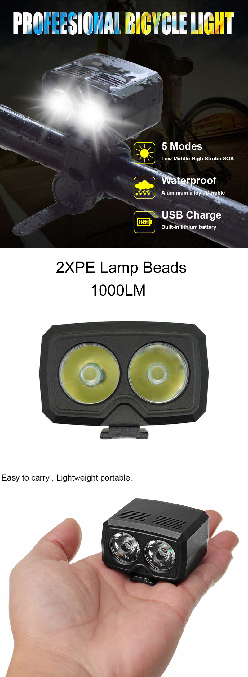 XANES DL05 1000LM 2XPE LED 1200mAh Battery 5-Mode IP65 Waterproof Mini Bicycle Head Light Power Display 360 Degree Rotation