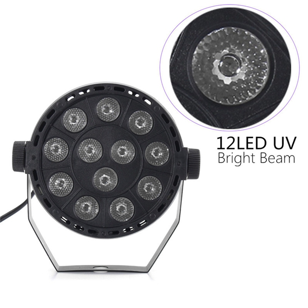 12W UV 12 LED Black Auto Sound Active Par Stage Light DMX512 for Disco Club Bar DJ Show AC110-240V