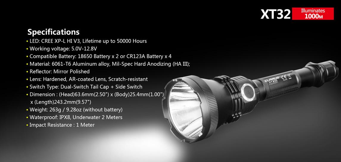 Klarus XT32 XP-L HI V3 1200LM 1000M Long-Range Tactical Dual Switch LED Flashlight Suit