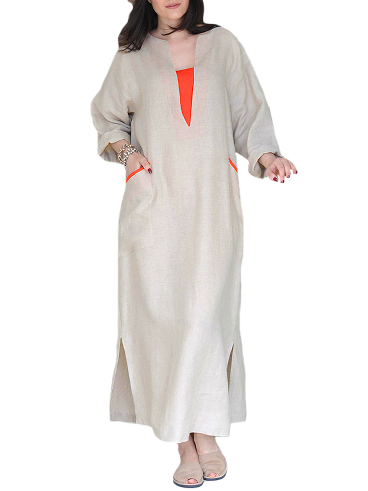 Women Vintage Patchwork Loose Kaftan Cotton Long Maxi Dress
