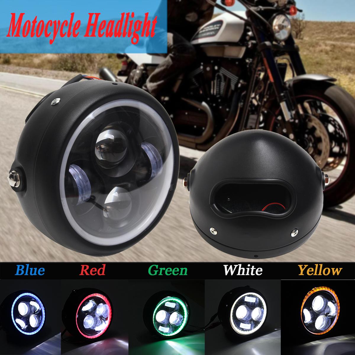 Motorcycle Cafe Racer COB LED Projector Angel Eye Headlights Lamp