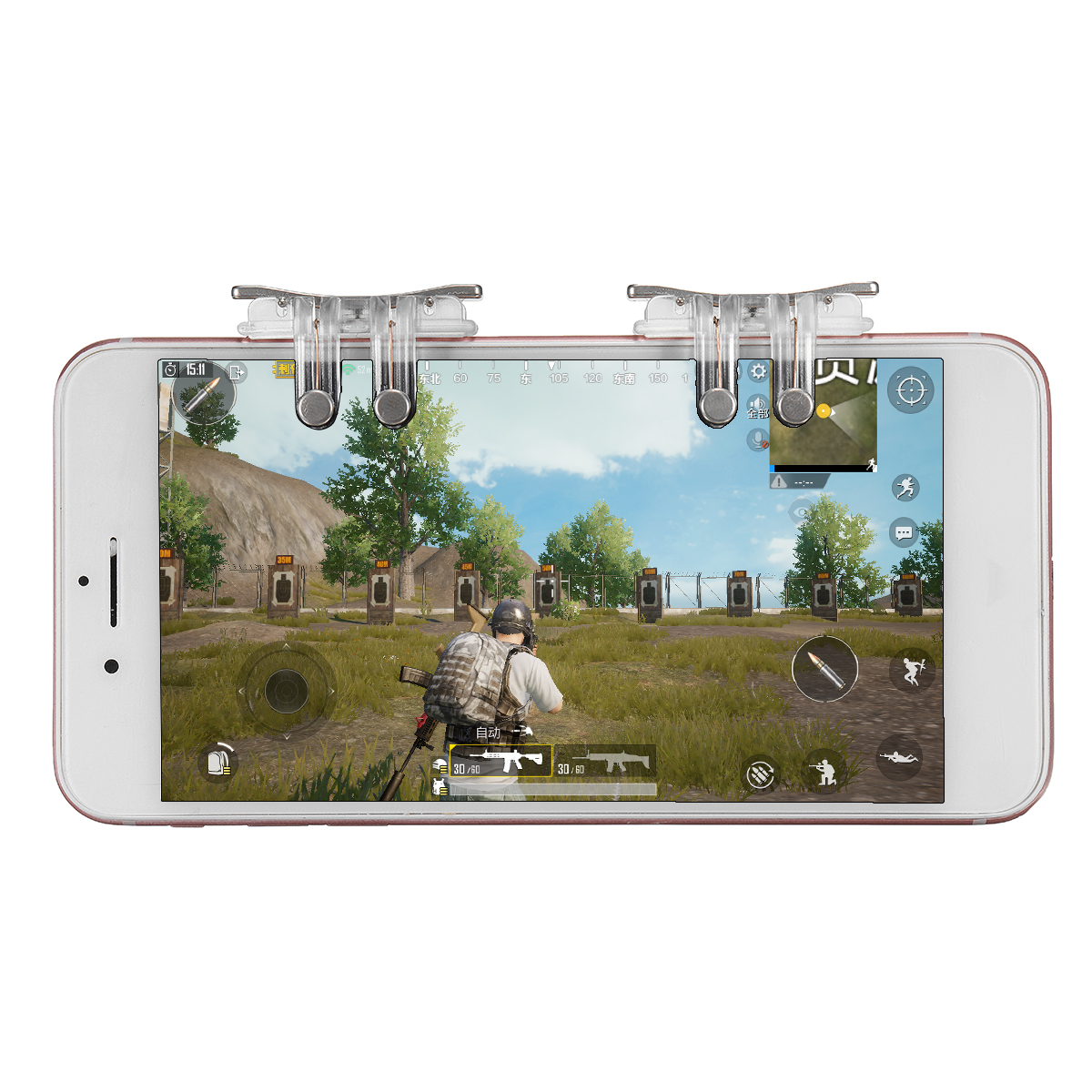 S10 Mobile Game Controller Shooter Button Six Finger Aiming Fire Trigger Button for Phone for PUBG