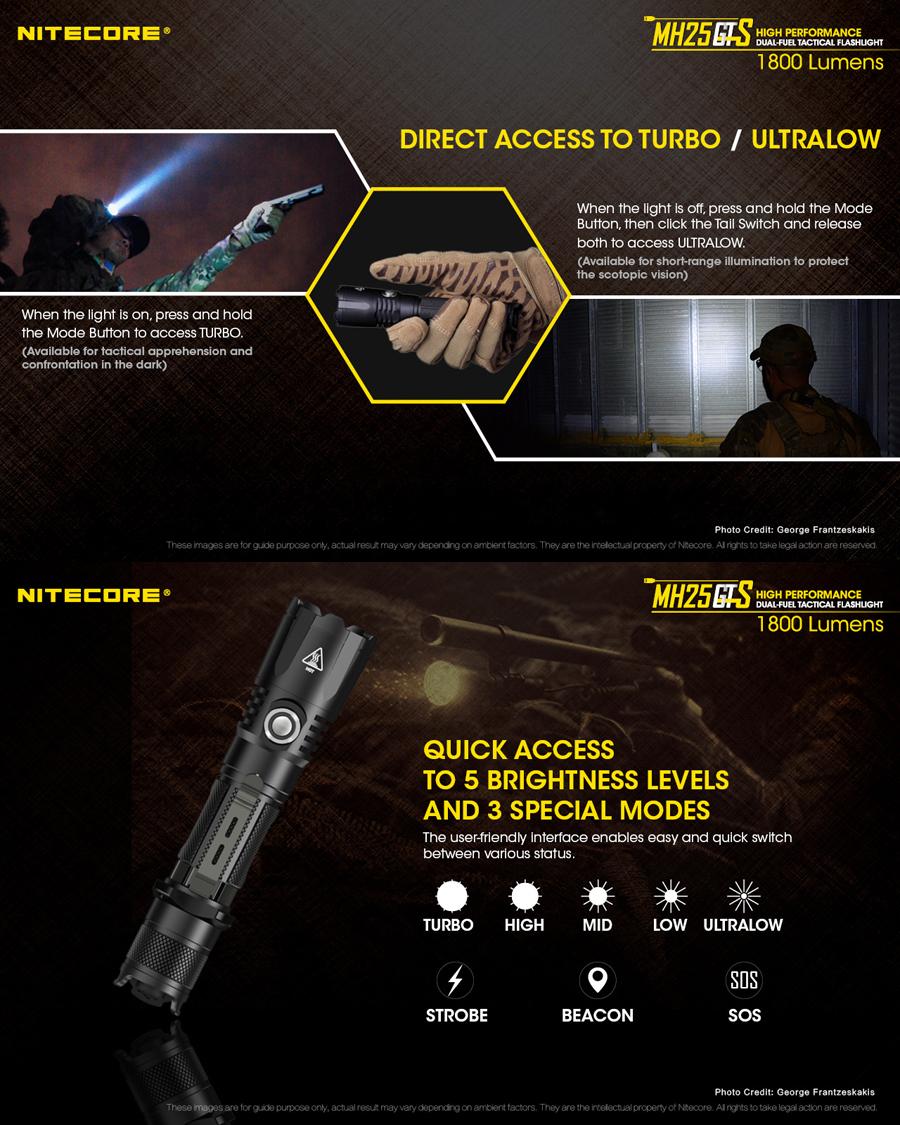 NITECORE MH25GTS XHP35 HD 1800LM 8Modes USB Rechargeable LED Flashlight + 3500mAh 18650 Battery
