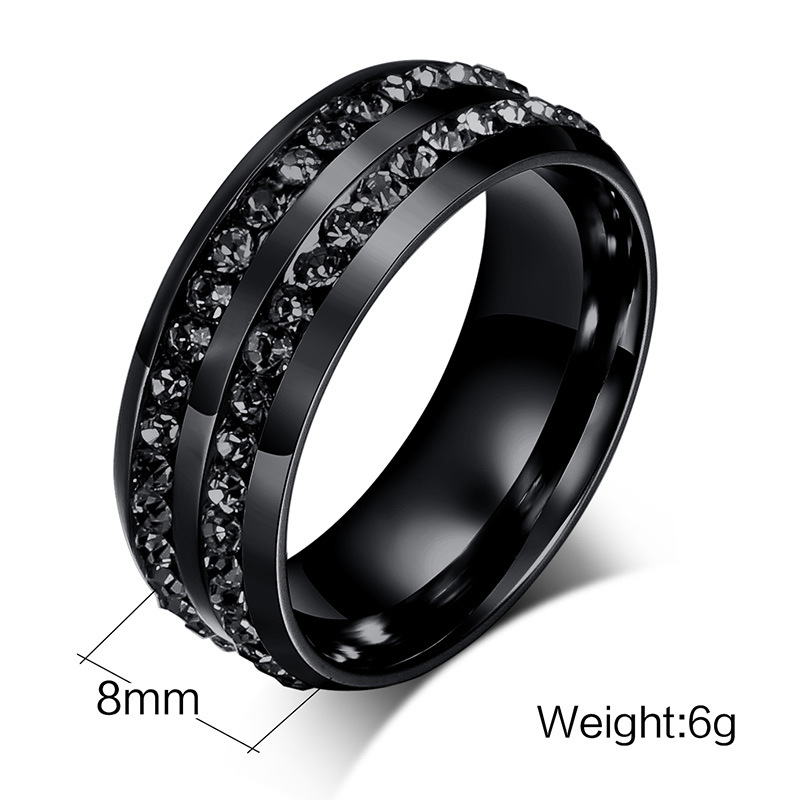 8mm Titanium Steel Men Ring Black Double Rhinestone Men Jewelry