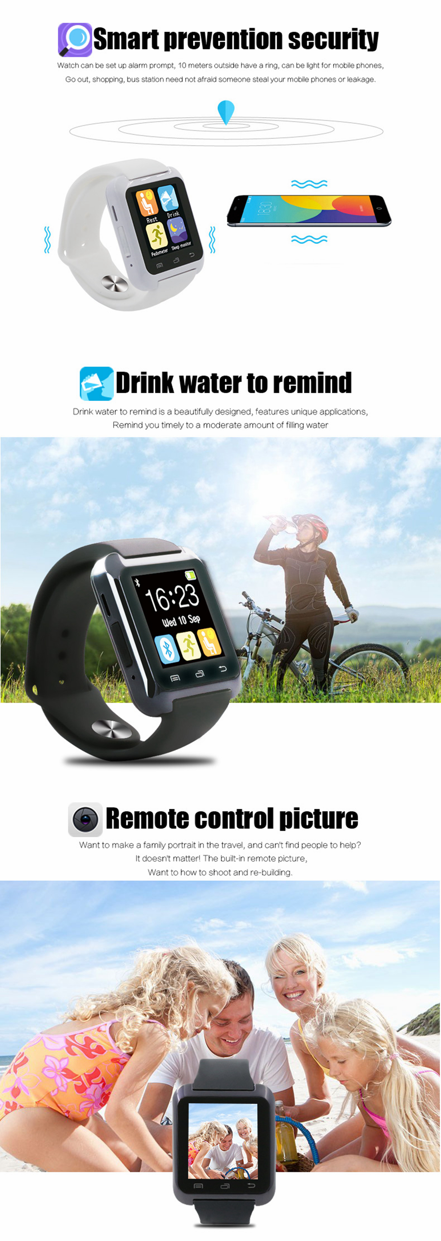 Bakeey U80 bluetooth Call Function Pedometer Sleep Monitor Remote Camera Smart Watch for IOS Android