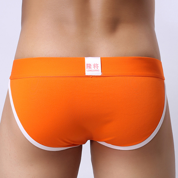 Mens Contrast Color Mid-rise Casual Sexy Briefs Cotton Breathable Soft U Pouch Underwear