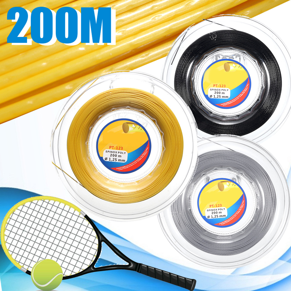 200M Multicolor Tennis Racket Racquet Strings Co-Polyester Monofibre Sports Reel