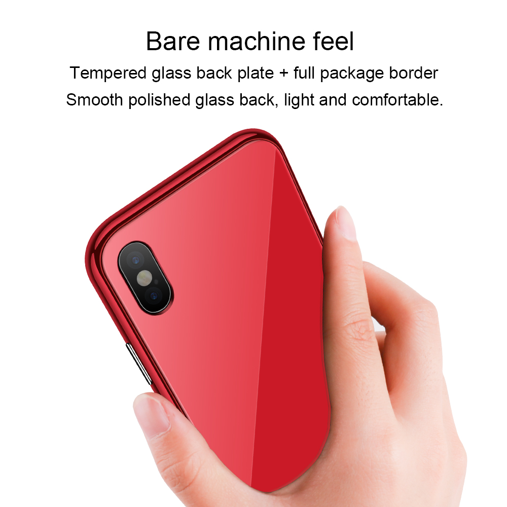 Bakeey Plating Magnetic Adsorption Full Body Protective Case with Tempered Glass for iPhone X