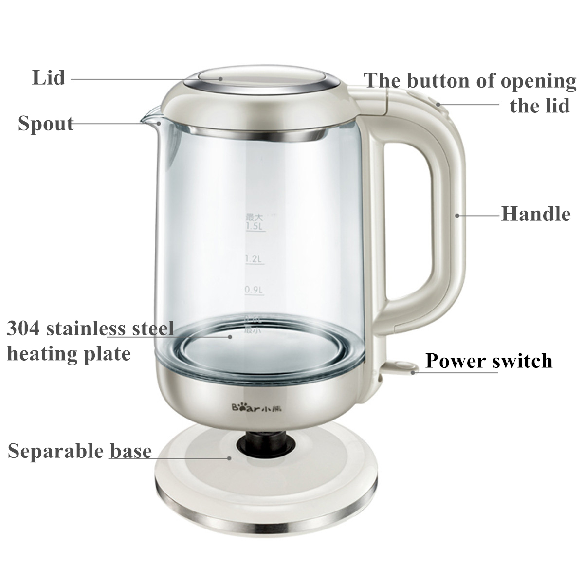 Bear ZDH-A15G2 1.5L Electric Glass Clear Tea Kettle Hot Water Boiler Stainless Steel Heater Pot Cordless Fast Boil BPA Free Stain Resist Kettle