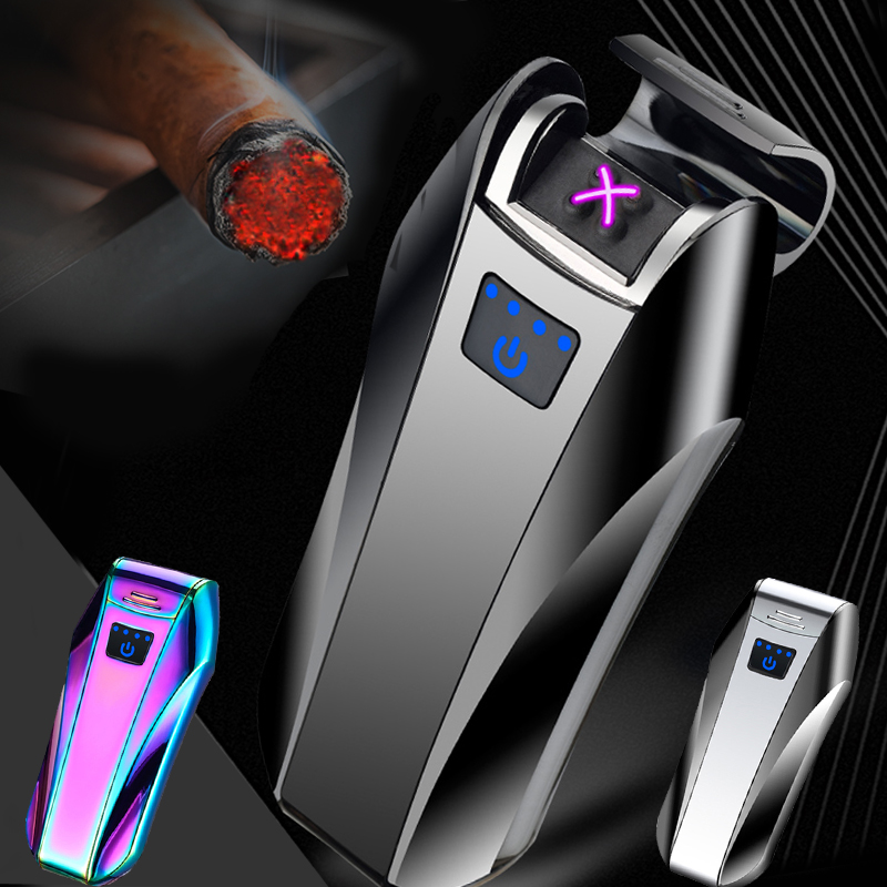 Touch Sensor Dual Arc USB Electric Rechargeable Flameless Pulse Cigarette Case Lighter