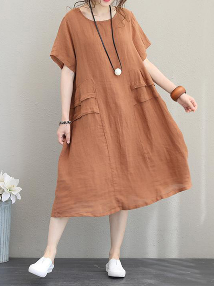 Retro Women Casual Cotton Solid Color Loose Dress