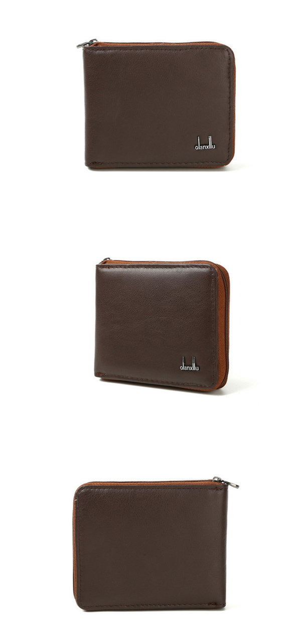 Leather Zip Wallet Vintage Organizer Billfold Coin Bag