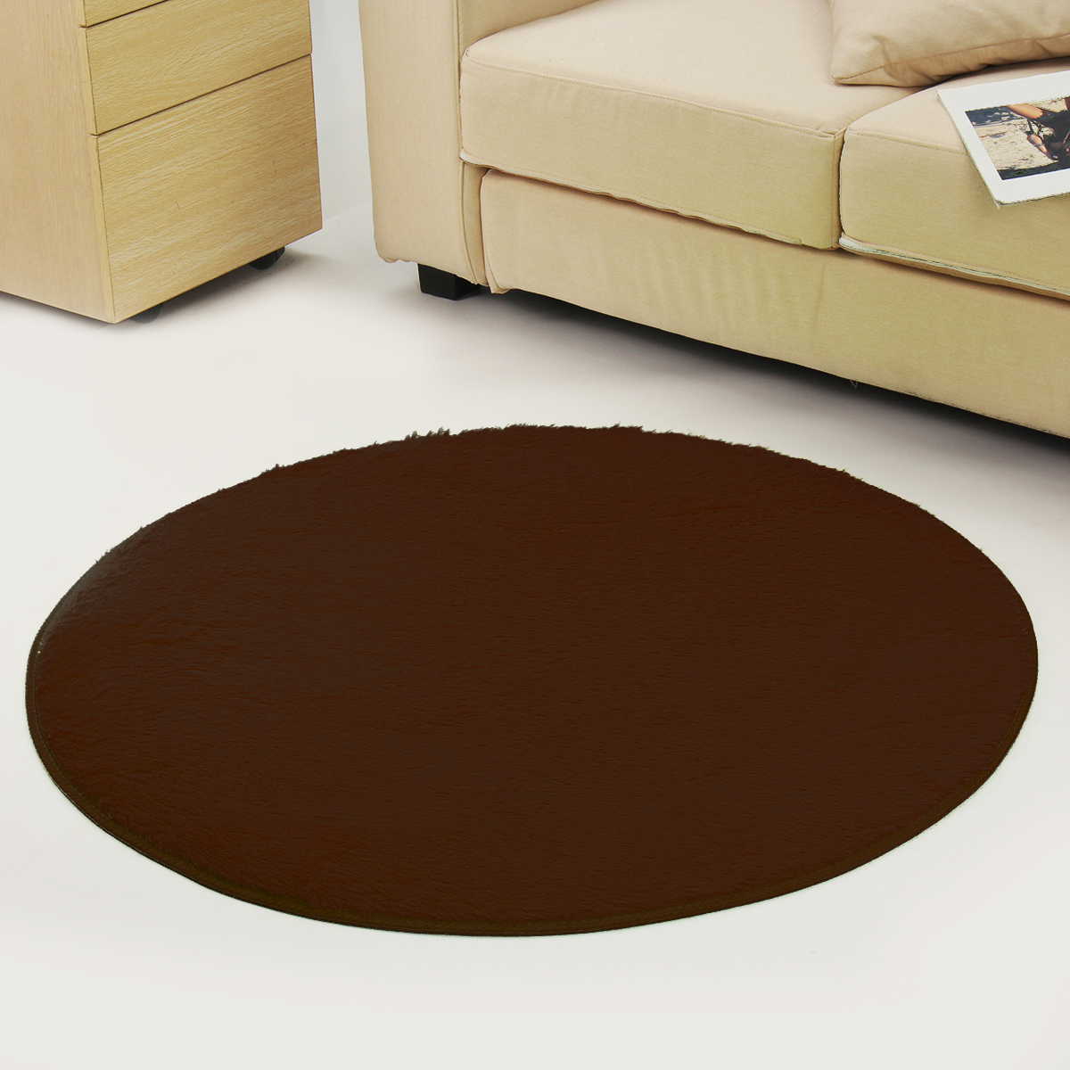 Round Anti Skid Fluffy Shaggy Area Rug Dining Room Home Table Carpet Floor Mat