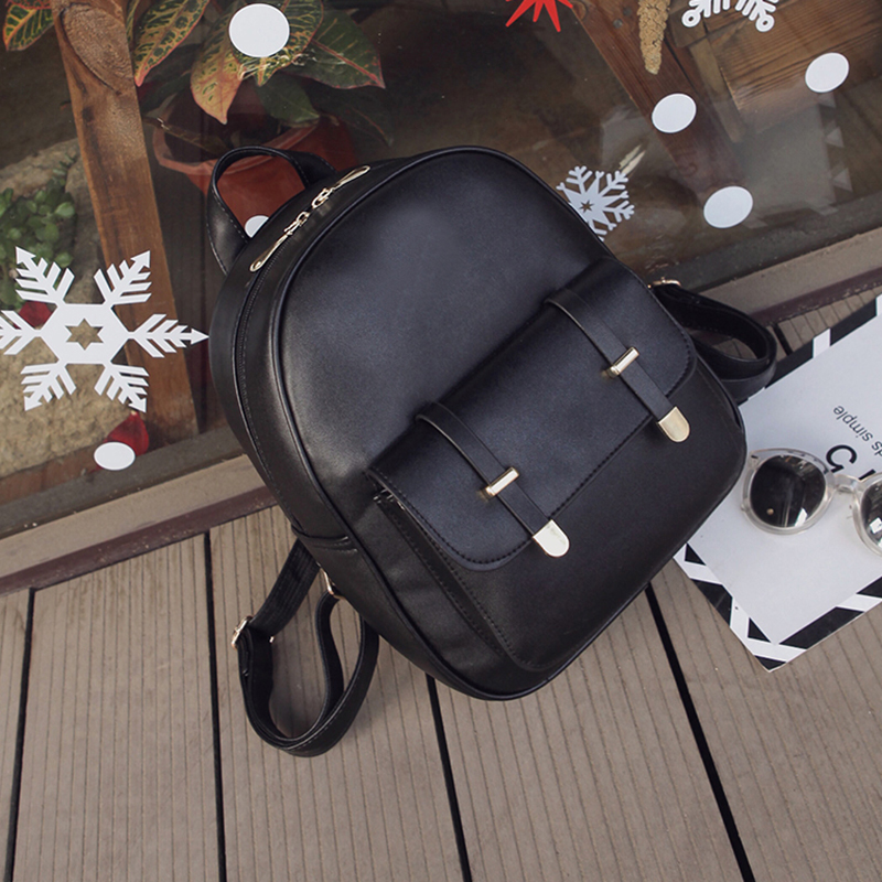 3 PCS PU Leather Women Backpacks Students Schoolbags