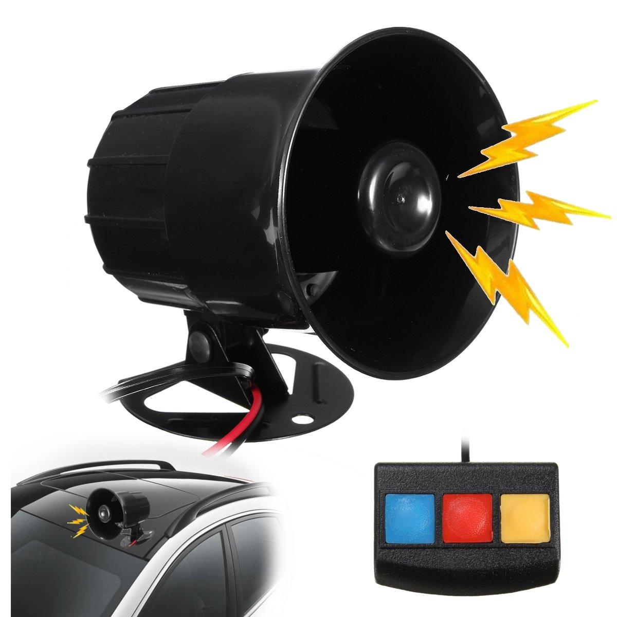110db 12V 3 Sound PA System Loud Horn Siren Alarm Speaker For Car Motorcycle Van