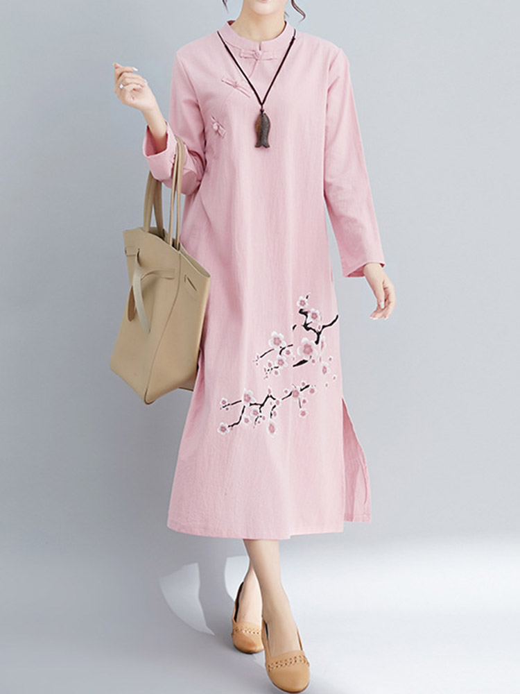 Long Sleeve Plate Buckle Print Dress