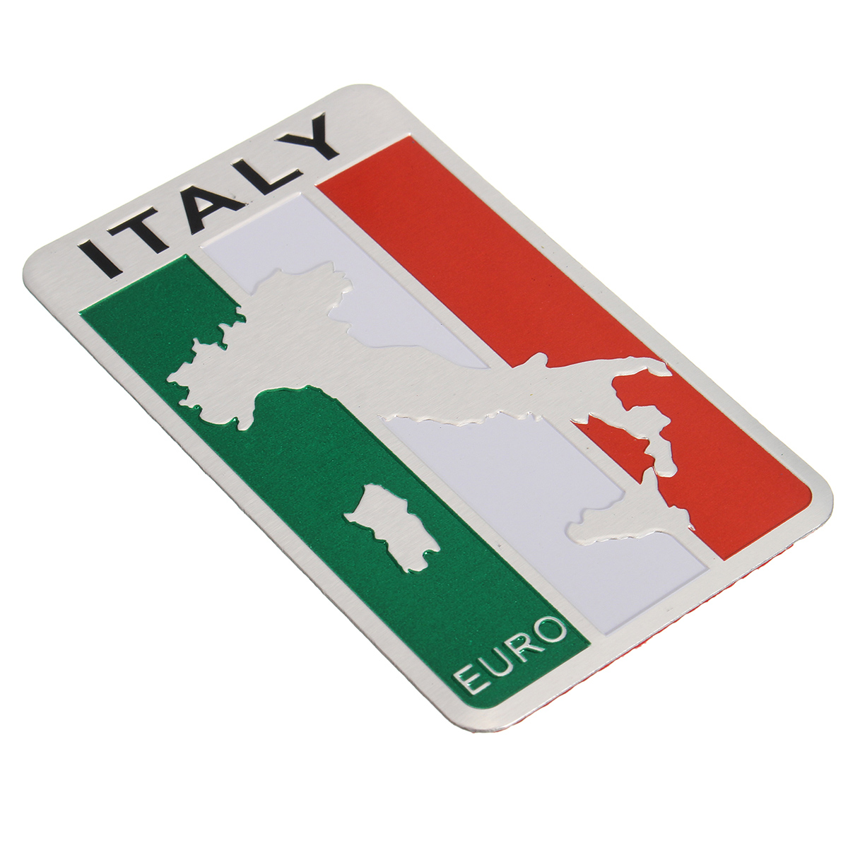 Car Stickers Italy Flag Map Badge Aluminum Emblem Decoration Decal 8x5cm