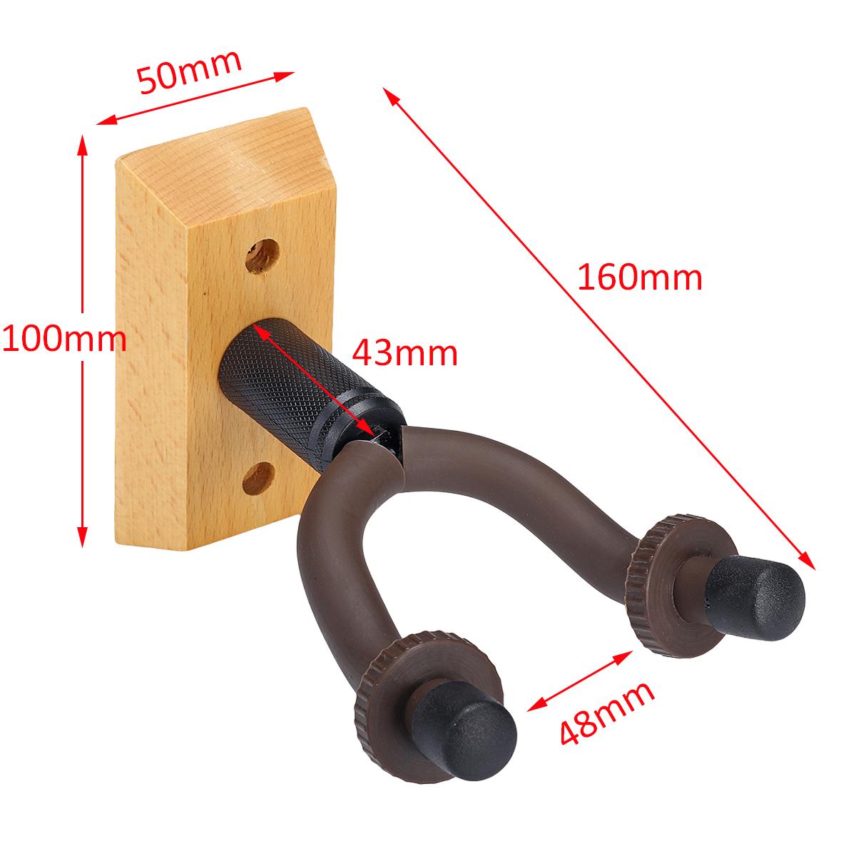 2PC Solid Wood Guitar Hook Ukulele Violin Wall Mount Hanger Bracket Multi-Angle Rotating Hook