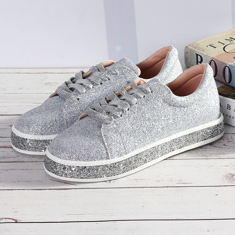 Femmes Printemps Sequin Glitter Bling Sneakers Casual Lace Up Flats Platform Chaussures