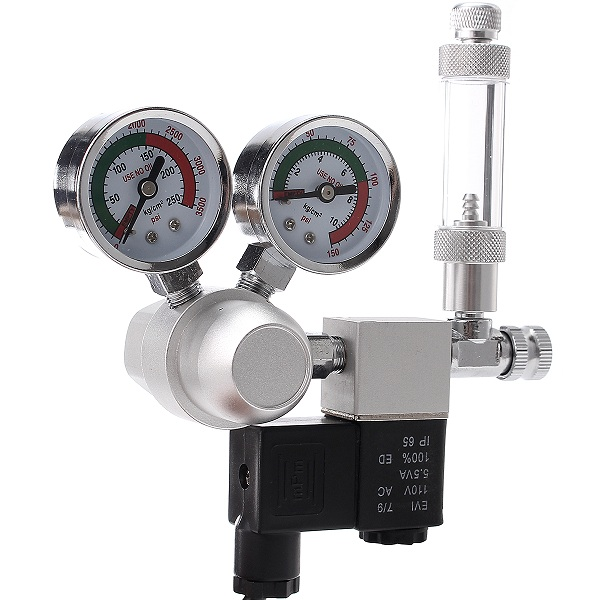 Image of Aquarium Dual Gauge CO2 System Druckregler Bubble Counter Solenoid