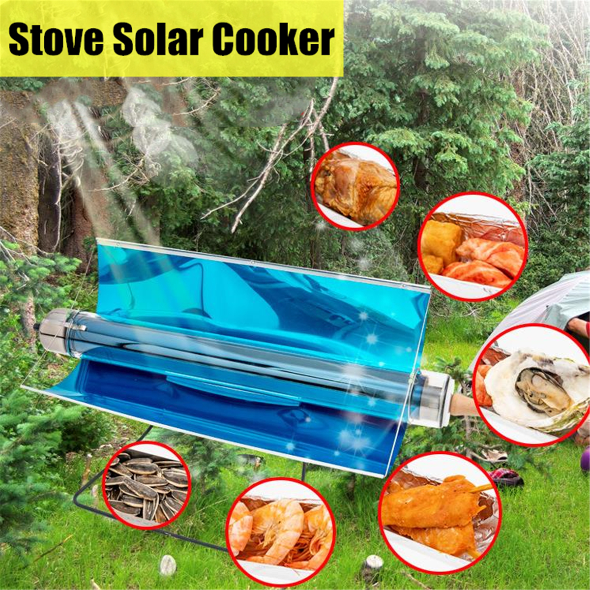 75*35*35 cm Portable Solar Cooking Stove Fuel Free Cooker Oven Grilling Outdoor Tools