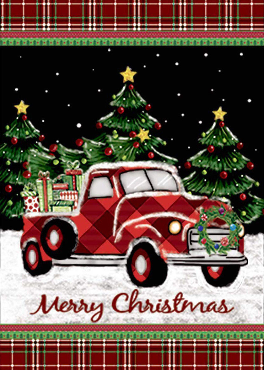 Merry Christmas Decorations Red Truck With Gifts Double Sided Winter Garden Flag