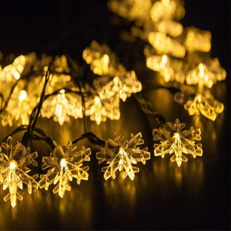 4.8M 20 Solar LEDs Snowflakes String Light Christmas Wedding Garden Decorations Ornament Hanging Outdoor Solar Lights Holiday Lighting Wedding Party Festival Decoration Curtain Indoor String Lights