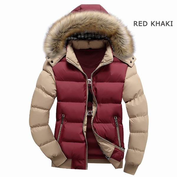 Mens Thick Warm Coat Color Splicing Detachable Hooded Puffer Jacket