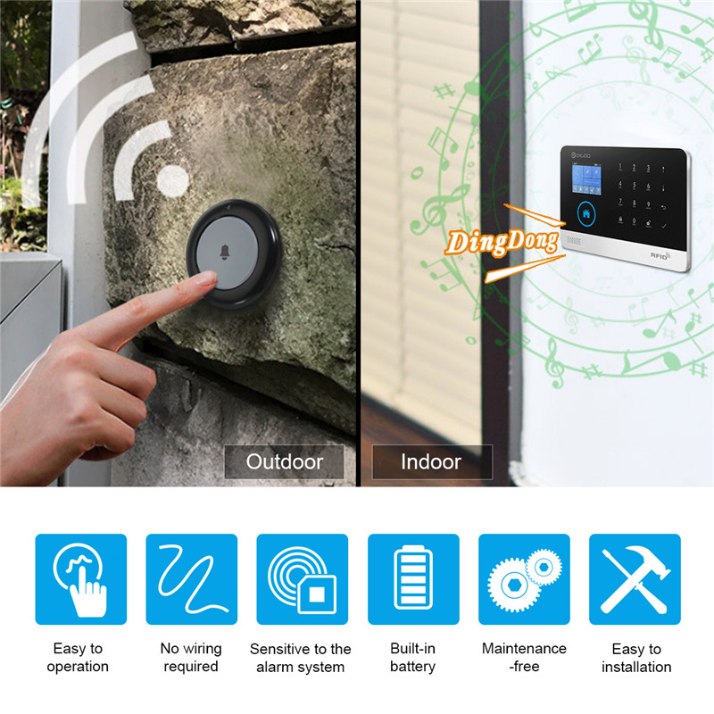 DIGOO DG-HOSA 433MHz Doorbell Button Compatible with HOSA MAHA 2G 3G Security Alarm System