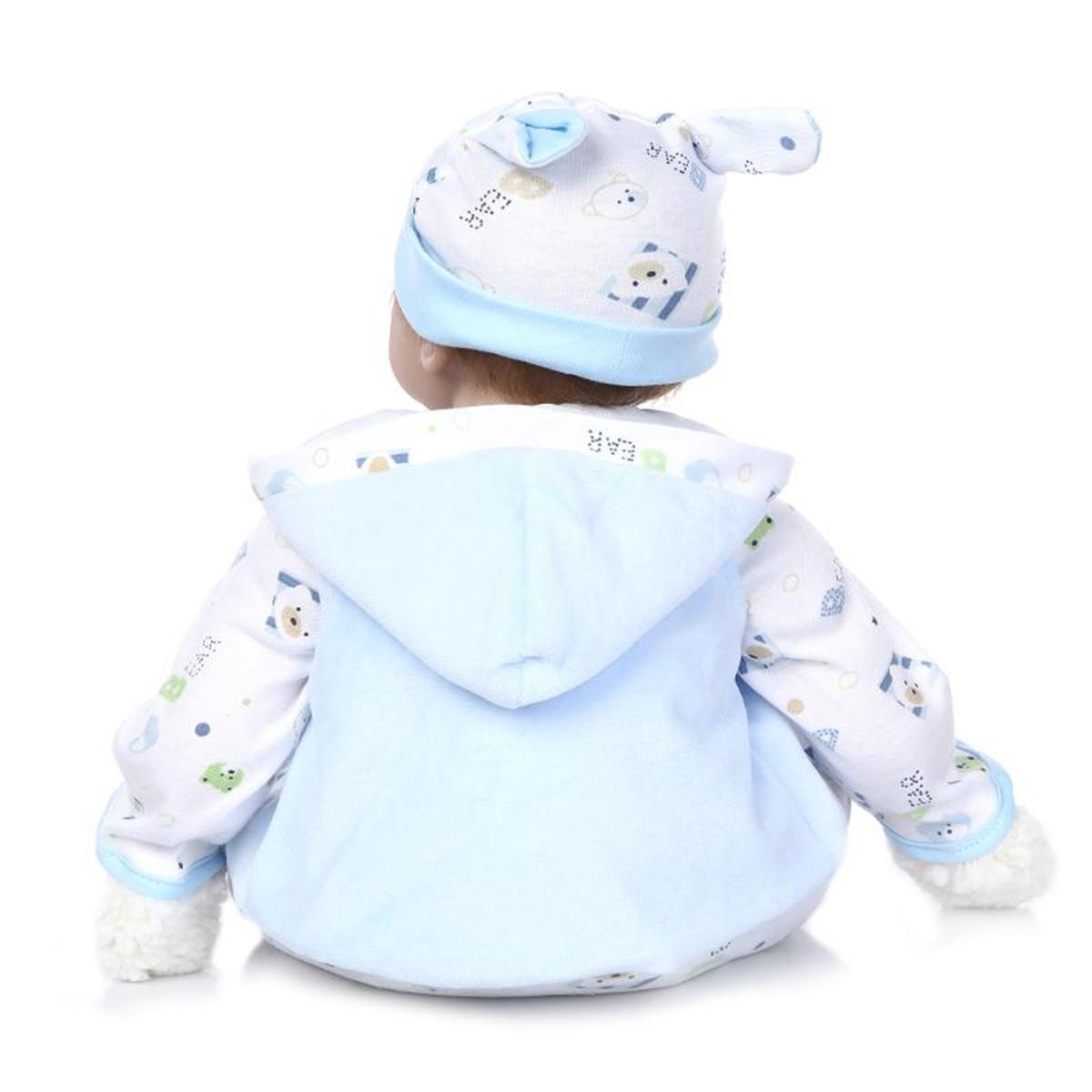 NPK 22inch Reborn Baby Doll Handmade Lifelike Realistic Newborn Kids Toys Silicone Gift