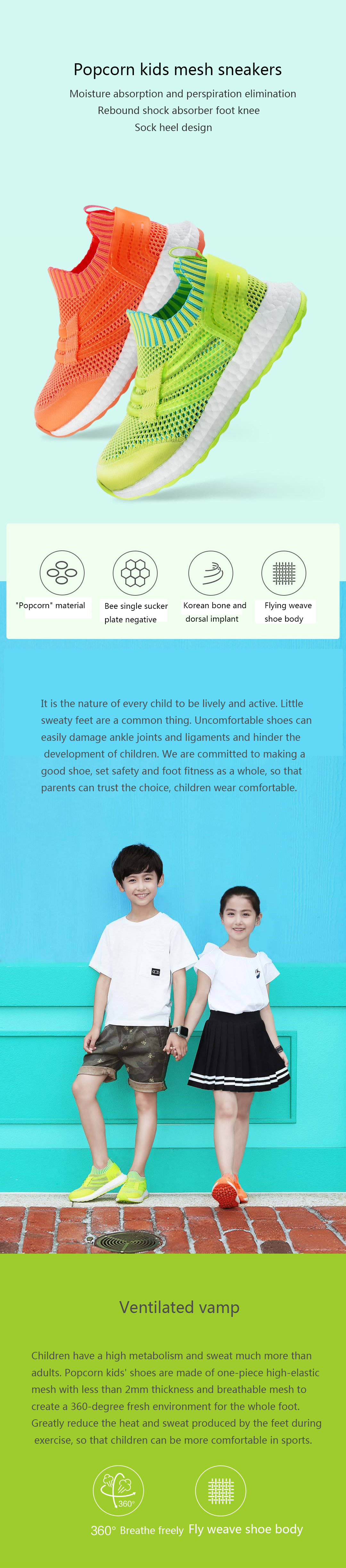 XIAOMI Popcorn Kids Boys Girls Mesh Lightweight Running Sport Shoes Casual Shoes Sneakers