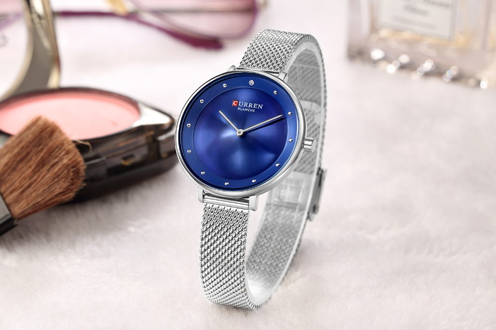CURREN 9029 Casual Style Mesh Stainless Steel Women Watch