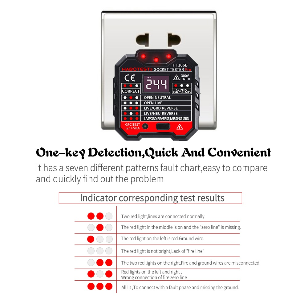 HT106B Socket Outlet Tester Circuit Polarity Voltage Detector Wall Plug Breaker Finder RCD Test