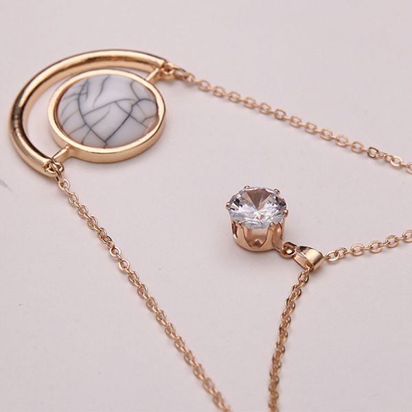 Zircon Gold Collar Chain Multilayer Pendant Necklace For Women