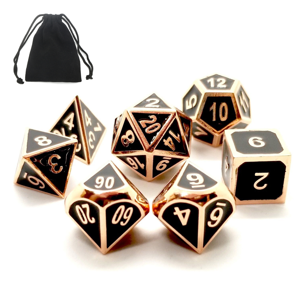 ECUBEE Solid Metal Polyhedral Dice Role Playing RPG 7 Dice Set With Bag Multisided Dice Set