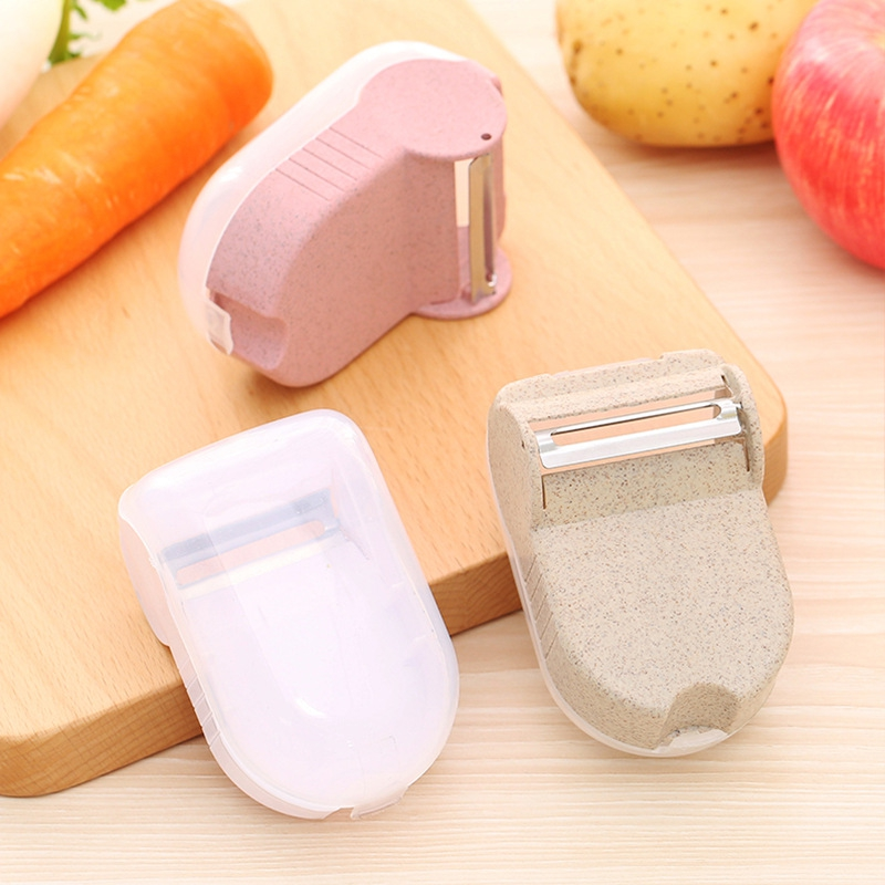 Multipurpose Wheat Straw Fruits Vegetable Peeler Slicer With Food Waste Box Zester Cooking Tool