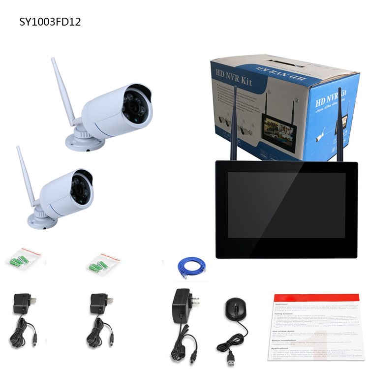 ENNIO SY1003FD12 10 inch TFT 4CH 960P Wireless DVR Video Security System Two Bullet IP Cameras